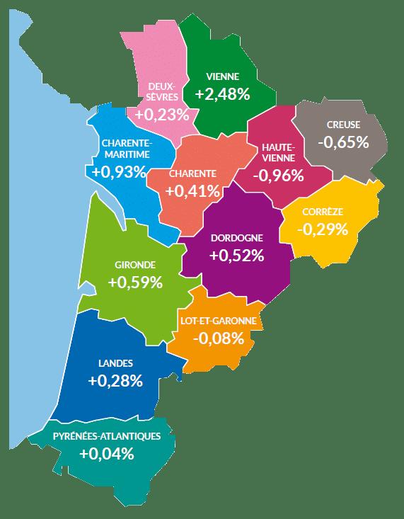 Évolution de l'activité de la TPE par département en 2018